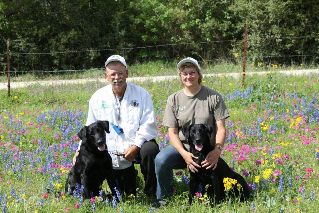 Stuart and Diana Mead with two labradors in Texas