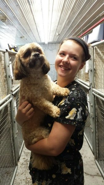 Girl worker holding dog at Club Mead Pet Resort